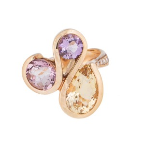 Fresh And Colorful 18k Rose Gold Multi-Gemstones And Diamond Ring