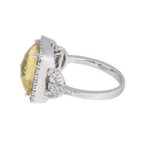 14k White Gold Green Quartz & Diamond Ring