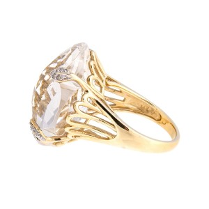 Dramatic 14k Yellow Gold Faceted Quartz & Diamond Ring