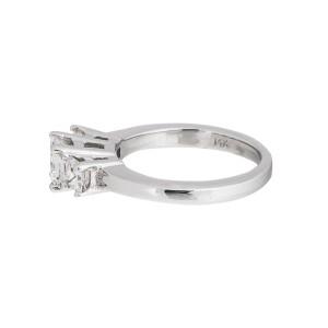14 k White Gold Smoky Ouartz & Diamond Ring