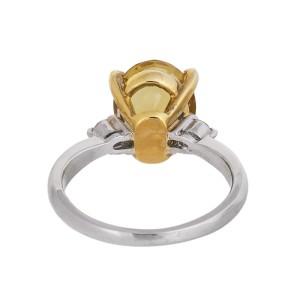 Lovely Sunny Platinum & 18k Yellow Gold 3 Ct Golden Beryl And Diamond Ring