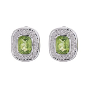 Stylish And Colorful 14k White Gold Peridot Earrings