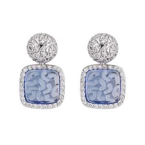 18k White Gold Transperent Blue Gemstone 1.50 Ct. Diamond Earrings