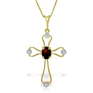 0.57 CTW 14K Solid Gold Cross Necklace Natural Diamonds Garnet