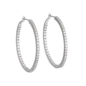 18k White Gold Diamond Round Hoop Earrings