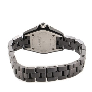 Chanel J12 Intense Black Quartz Watch Ceramic and Stainless Steel 29