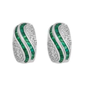 Opulent And Very Elegant 14k White Gold Emerald & Diamond Earrings