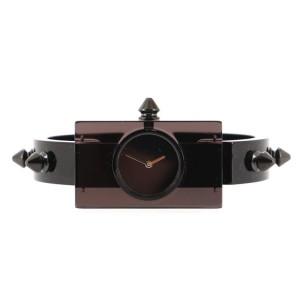 Gucci Vintage Web Stud Rectangular Frame Quartz Watch Plexiglass with Stainless Steel 24