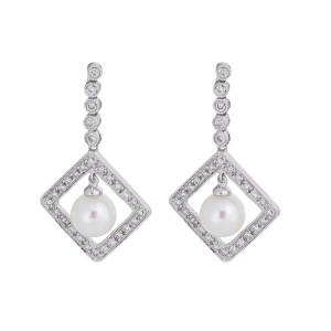 Heavenly Graceful 14k White Gold Cultured Pearl And Diamond Dangle Earrings