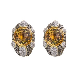 Alluring And Vivatious 18k Yellow Gold Citrine Brown And White Diamond Earrings