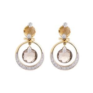 14k Yellow Gold Smoky And Golden Quartz Diamond Dangle Earrings