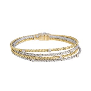 14k White & Yellow Gold Diamond Basketweave Bracelet