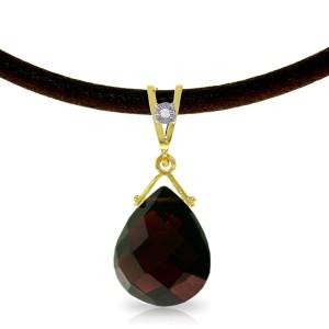 6.51 CTW 14K Solid Gold Attraction Garnet Diamond Necklace