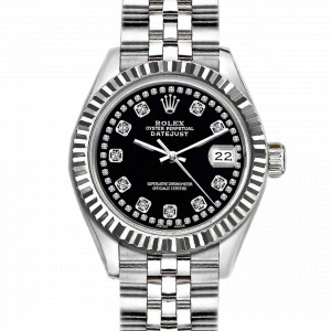 36mm Mens Rolex Datejust Stainless Steel with Black Dial