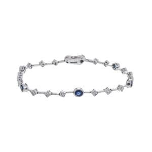 Charming Delicate 14k White Gold Blue Sapphire And Diamond Bracelet