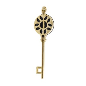 18k Rose Gold Black Onyx & Diamond Key Pendant