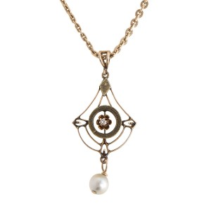 14K Yellow Gold Vintage Pearl & Diamond Pendant