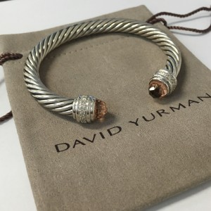 David Yurman Cable Sterling Silver Morganite and 0.48 Ct Diamond Cuff Bracelet