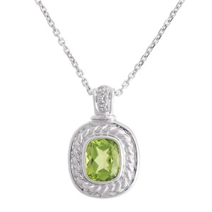 Stylish And Colorful 14k White Gold Peridot And Diamond Necklace