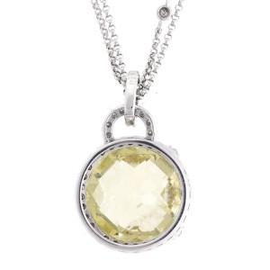 Exquisite Creation Of Color - 14k White Gold Lemon Quartz & Diamond Pendant