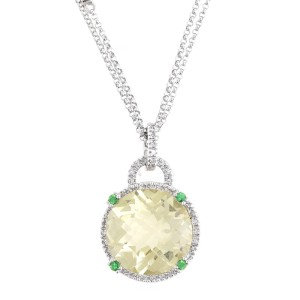 Exquisite Creation Of Color - 14k White Gold Lemon Quartz & Diamond Pendant