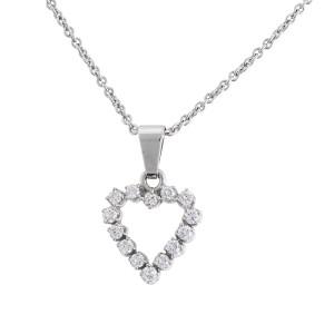 Heart Shaped 14k White Gold Diamond Pendant Necklace