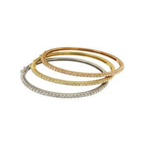 14K White Yellow & Rose Gold with 2.00ctw. Diamond Set of 3 Bracelets