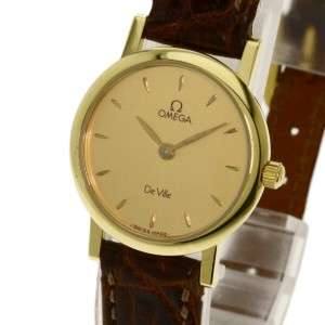 OMEGA 18k Yellow Gold/Leather De Ville Watch