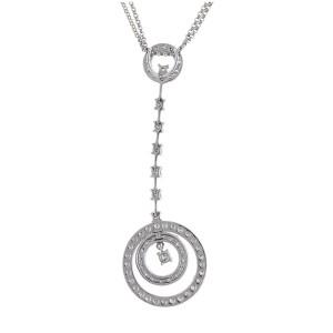 Ultra-chic Modern 14k White Gold 0.95 Ct. Diamond Circle Pendant