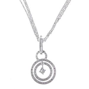 18k White Gold & Diamond Circle Pendant