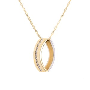 14k Yellow And White Gold Diamond Pendant With 14k Yellow Gold 17 3/4 Inch Chain