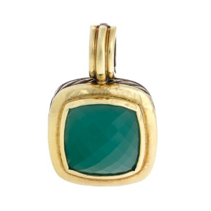 David Yurman Silver and 18K Yellow Gold Green Onyx Albion Pendant