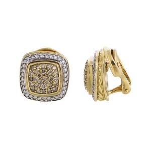 David Yurman 18K Yellow Gold 2.0 CT Diamond Cable Earrings