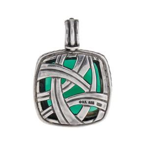 David Yurman Silver Green Onyx Diamond Albion Pendant