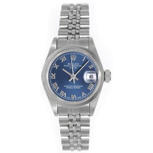 Rolex Date  69190 Stainless Steel Blue Roman Dial 26mm Womens Watch