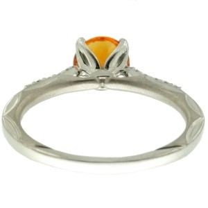 Ritani 18k White Gold Citrine .10ctw Diamond Ring Size 6.5
