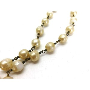 Chanel Gold Tone & Simulated Glass Pearl CC Necklace