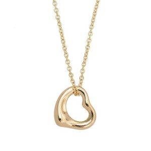 TIFFANY & Co 18k Pink Gold Open Heart Necklace RCB-117