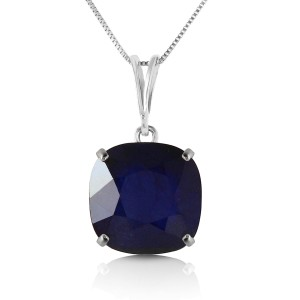 4.83 CTW 14K Solid White Gold Necklace Cushion Shape Sapphire
