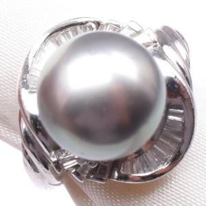 Platinum/pearl diamond Ring NST-388
