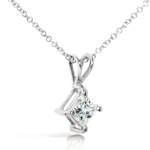 Diamond Solitaire Pendant 2/5 carat in 14K Gold - white-gold