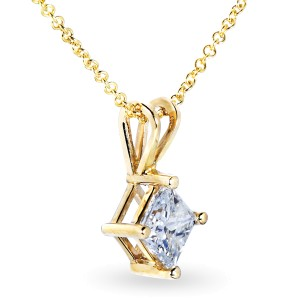 Diamond Solitaire Pendant 1/2 carat in 14K Gold - yellow-gold