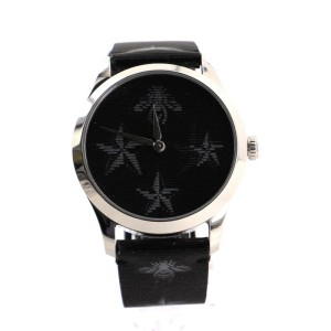Gucci G-Timeless Bee Star Hologram Quartz Watch Stainless Steel and Leather 38