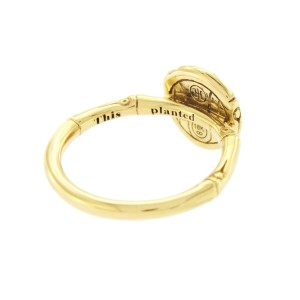John Hardy 18K Yellow Gold with 0.55ct Diamond Metallic Bamboo Ring Size 7