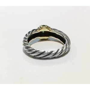 David Yurman Gold & Sterling Emerald Cable Dome Ring