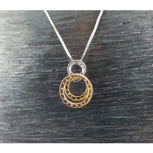 18K Tri-Tone Gold & Diamonds Circle Pendant Necklace