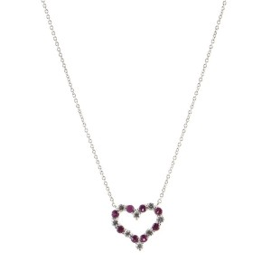Tiffany & Co. Heart Pendant Necklace Platinum with Diamonds and Pink Sapphires