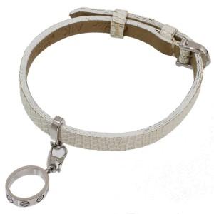 Cartier 18k White Gold Leather Love Charm Band Bracelet