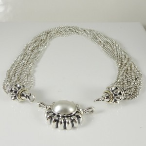 Lagos Sterling Silver 18K Yellow Gold Multi Row Torsade Necklace with Mabe Pearl Enhancer