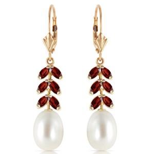 9.2 CTW 14K Solid Gold Fern Garnet Cultured Pearl Earrings